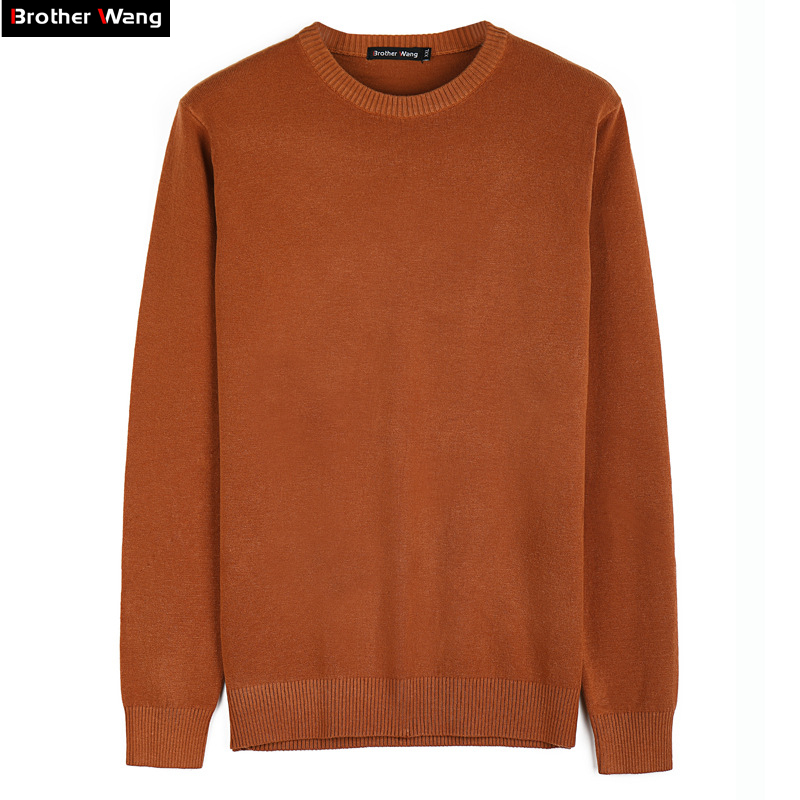 Brother Wang Brand Men's Slim 100% Cotton Sweater Fashion Casual Business Overalls Pullovers Sweater Black Red Orange Green