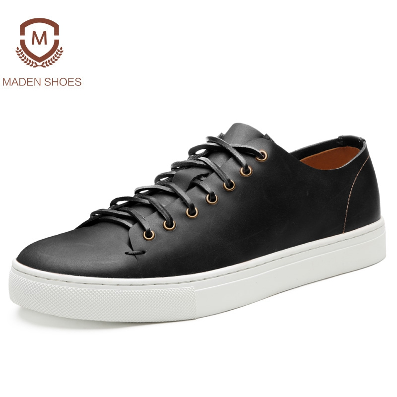 Maden Brand 2018 Spring Genuine Leather Vintage Men Casual Shoes British Style Leisure Beeswax Flat Platforms Zapatos Hombre 2018 brand new spring men slip on shoes breathable shoes british style shoes loafers genuine leather flat shoes wa 03