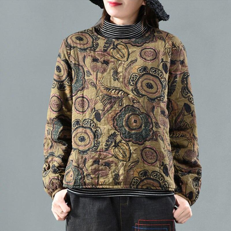 QPFJQD 2019 Women Floral Print Parkas Autumn Winter Retro Coat Chinese Style O Neck Warm Cotton