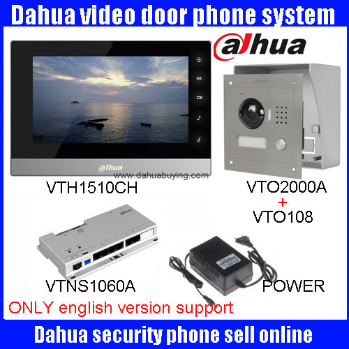 Original english Dahua DHI-VTH1510CH Color Monitor with VTO2000A outdoor IP Villa Outdoor Video Intercom sysytem with VTO108