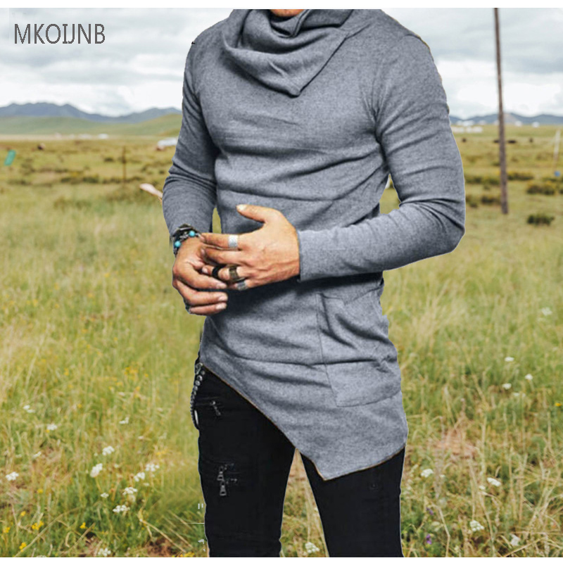 2018 Top Fashion Brand Turtle neck Street Wool T shirt Men Hip Hop Long Sleeves Asymmetry Designed Mens Cotton Tees US Size ...