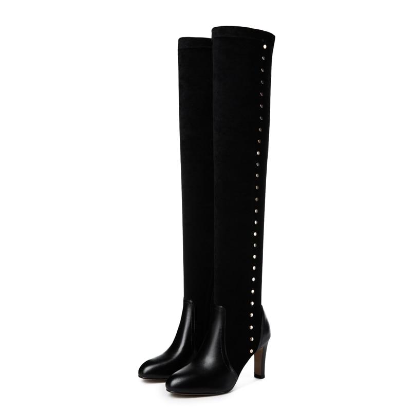 Extensibles Hautes D'hiver Arden De Talons Stilettos Mode Le 2019 Bottines Femmes Furtado Bottes Sur Chaussures 40 Zipper Bout Black Pointu wOOT1I