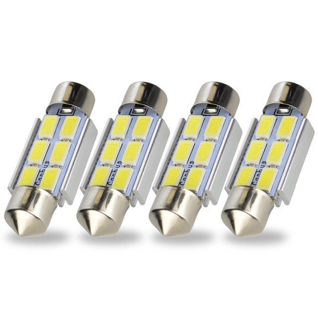 Safego 4x LED Festoon 31mm C5W 36mm LED canbus 6SMD 42mm LED 9 SMD 5630 Car Interior Dome Lamp License Plate Light Reading Bulbs