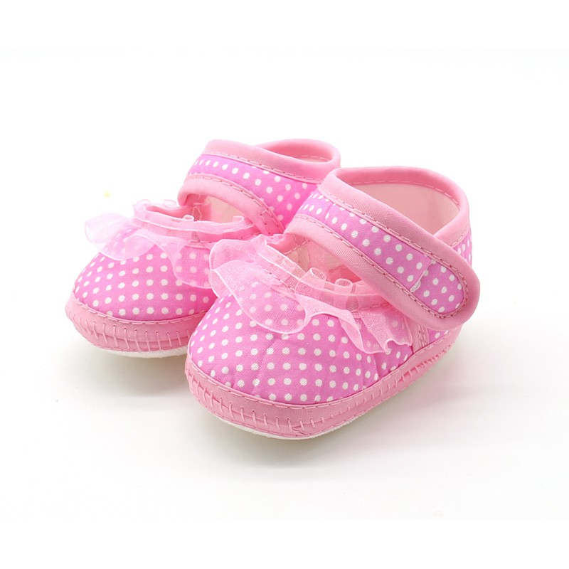 Newborn Baby Girls Shoes Polka Dot Soft Sole Cotton First Walkers Moccasins Pink Red Purple New Arrival
