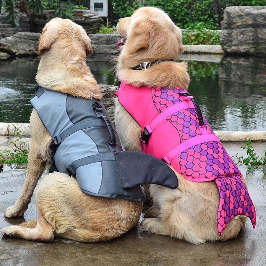 Pet Dog Life Jacket Safety Clothes Life Vest Collar Harness Saver Pet Dog Swimming Preserver Summer Swimwear Mermaid Shark