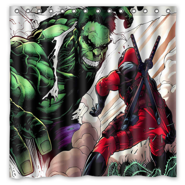 DIY Bath CurtainAnime Funny HeroDeadpool VS The Incredible Hulk Printed Waterproof Polyester Shower CurtainSize180X180CM In Curtains From Home