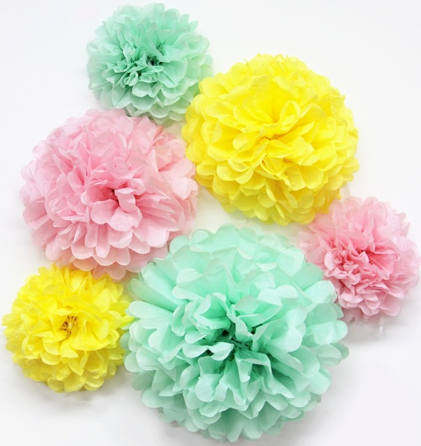6pcs (Yellow,Pink,Mint) Tissue Paper Pom Poms Wedding Decorations