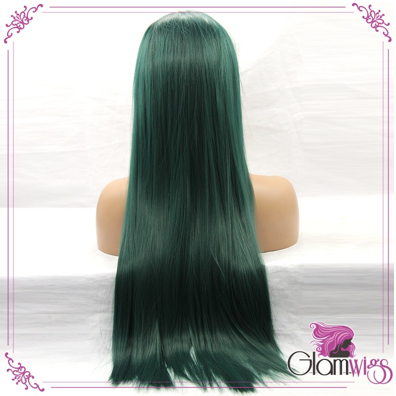 Long Straight Ombre Green Dark Root Synthetic Lace Front Wigs South Afric Women Wigs with Baby Hair Glueless Lace Wigs-3