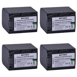 4Pack High Capacity 7.2V 2500mAh NP-FV70 NP FV70 Rechargeable Camera Batteries for Sony HDR-CX230 HDR-CX150E HDR-CX170 CX300
