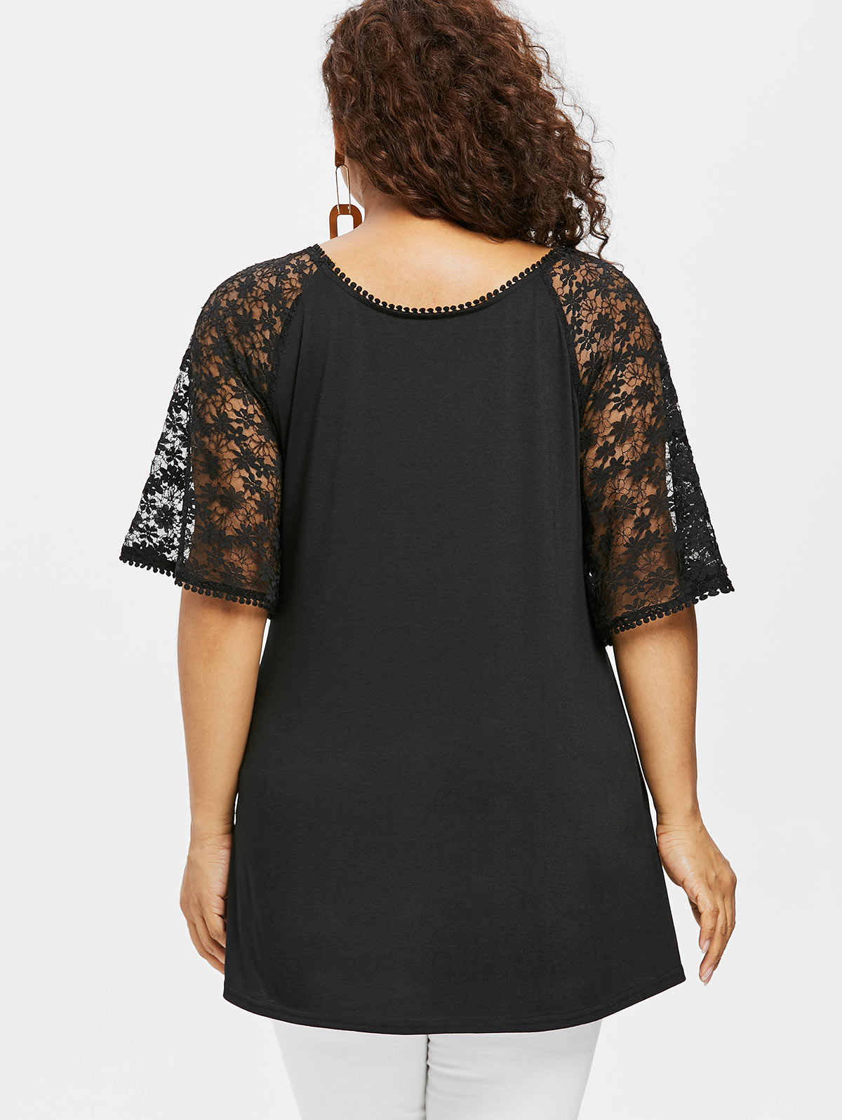 d5da95f6 ... Rosegal Plus Size Ethnic Print Lace Long Tee Women T-Shirt Summer  Casual O Neck ...