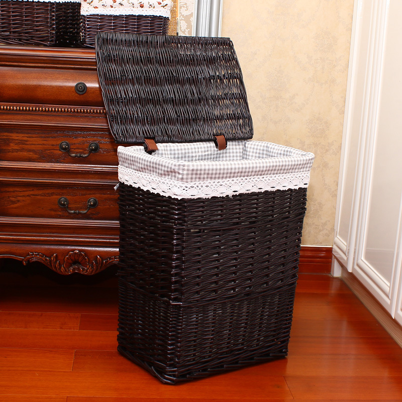 2019 Wicker Laundry Basket With Lid For Clothes Rattan Basket Canvas Laundry Sorter Basket Fabric Storage Basket Hamper Large