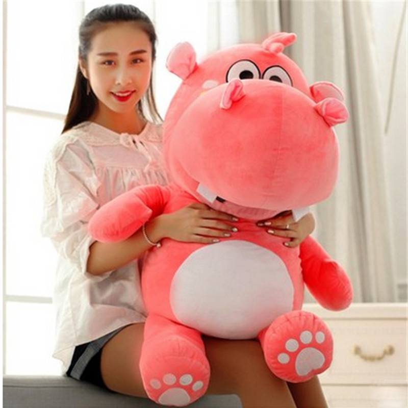 Fancytrader Big 47'' Lovely Soft Animal Hippo Plush Toy Giant 120cm Stuffed Cartoon Hippopotamus Doll Pillow fancytrader lovely soft cartoon fox plush toy stuffed animal fox dog doll pillow creative decoration gift 47inch 120cm 3 colors