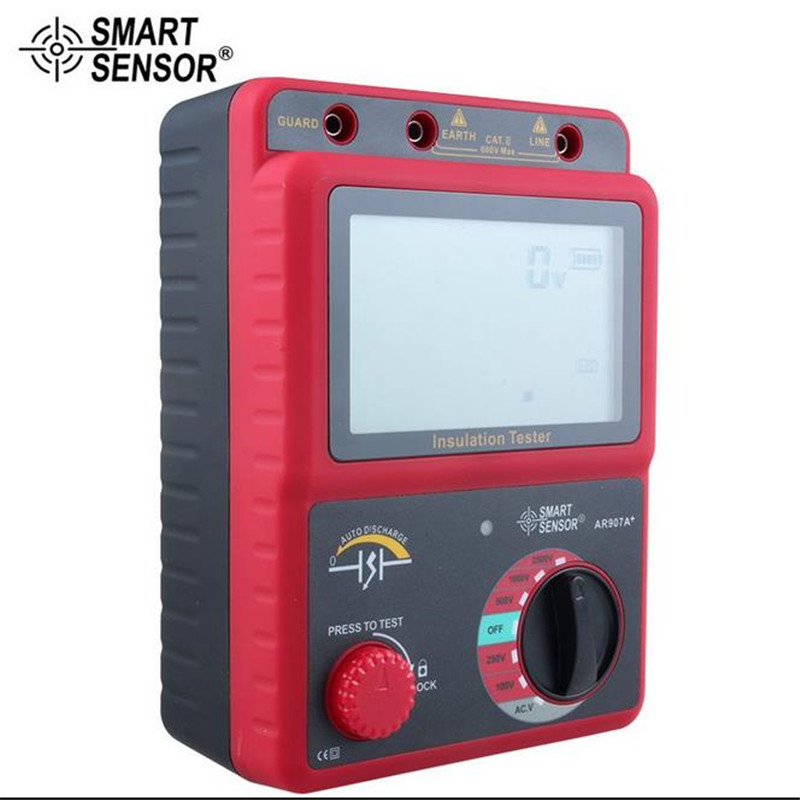 Smart Sensor AR907A+ 100-2500V Digital Insulation Meter Tester Megger MegOhm !!NEW!! AC / DC voltage tester digital high voltage insulation megger tester se ar907