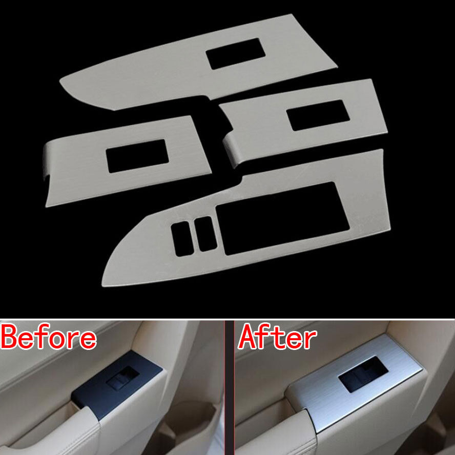 4Pcs Chrome Stainless Car Interior Door Window Switch Button Lift Control Cover Trim Sticker Fit for Toyota Corolla 2014 citall 4pcs car interior abs matte chrome door window switch console panel cover trim for toyota highlander 2014 2015 2016 2017