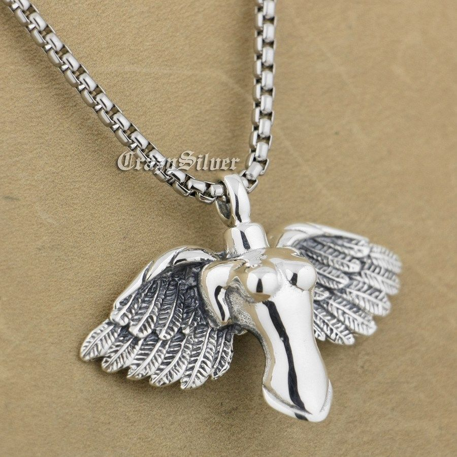 LINSION 925 Sterling Silver Naked Angel Mens Biker Rock Punk Pendant 9S001 цена и фото