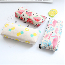1x Korea canvas pencil bag capacity pen cosmetic of students case kawaii school office stationer supplies