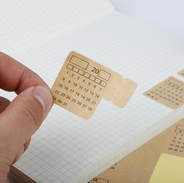 4 Sheets/pack 2020 Kraft Paper Handwritten Calendar Notebook Index Label Sticker Calendar Sticker Organizer Kawaii Stationery