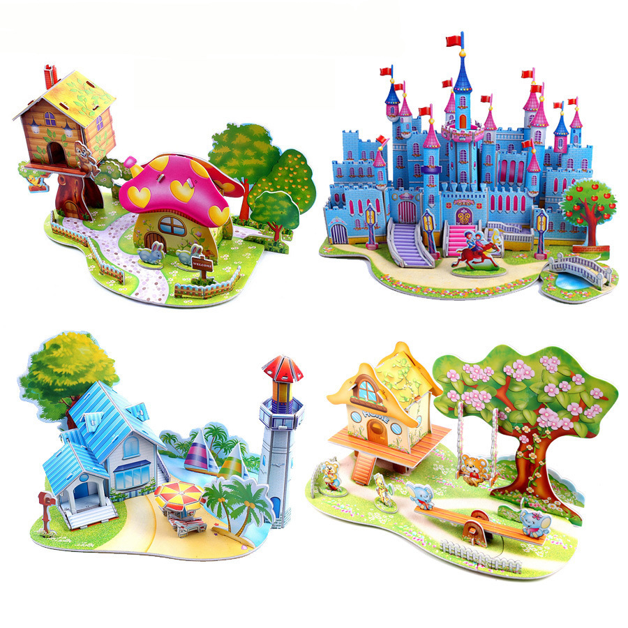 цена на 3D DIY Puzzle Jigsaw Baby toy Kid Early learning Castle Construction pattern gift For Children Brinquedo Educativo Houses Puzzle