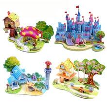 3D DIY puslespil Jigsaw Baby legetøj Kid Tidlig læring Castle Byggemønster gave til børn Brinquedo Educativo Huse Puzzle