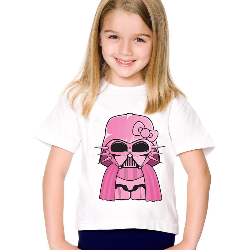 Children Fashion Print Pink Darth Vader T-shirts Kids Funny Star Wars Summer Clothes Casual Top Baby Tees For Boys/Girls,HKP5134 цена