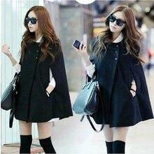 2015 Winter Women Casual Women Cape Black Batwing Poncho Lady Winter Warm Cloak Trench Coat Women Cardigan A402
