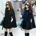 2015 mulheres de inverno casuais mulheres do cabo preto Batwing Poncho senhora capa de inverno quente Trench mulheres casaco Cardigan A402