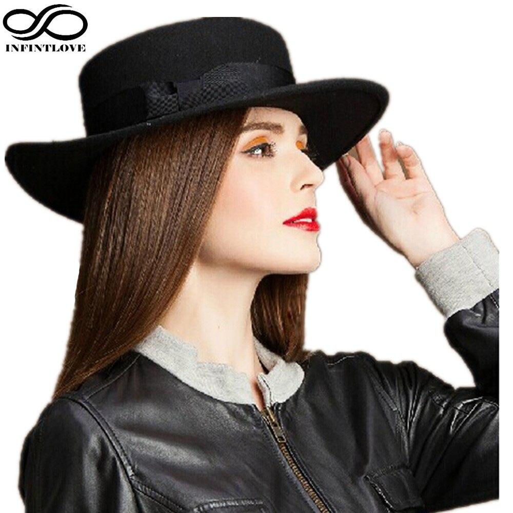 LUCKYLIANJI Retro dámská tvrdá vlna plstěný vepřový koláč vepřový klobouk oválný krátký okraj černá stuha pásová čepice