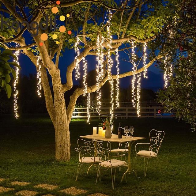 24 M Led Eiszapfen String Lichter Weihnachten Garten Baum