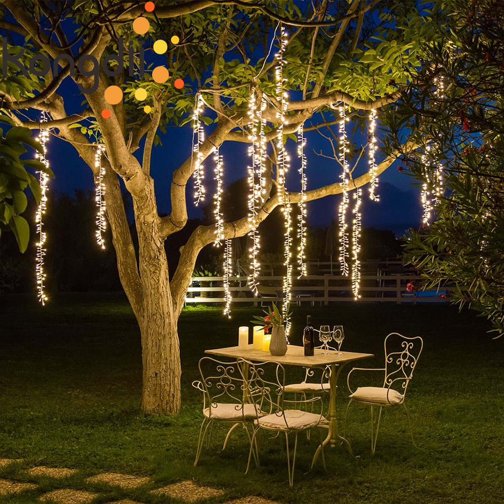 2.4m Led Icicle String Lights Christmas Garden Tree Decoration Christmas Fairy Light Garland Outdoor Party Patio Street Decor