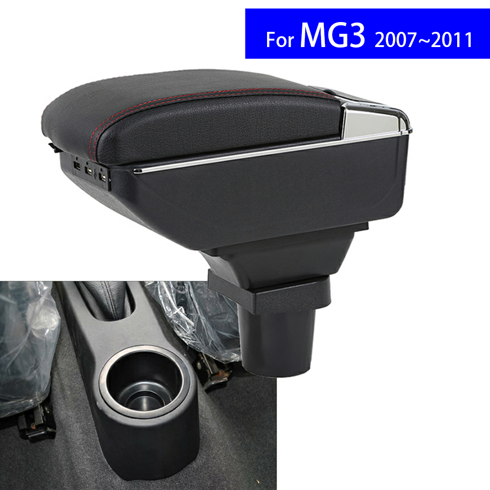 Leather Car Interior Parts Center Console Armrest Box for MG3 2007 2008 2009 2010 2011Armrests with USB CUP Holder Free Shipping universal leather car armrest central store content storage box with cup holder center console armrests free shipping