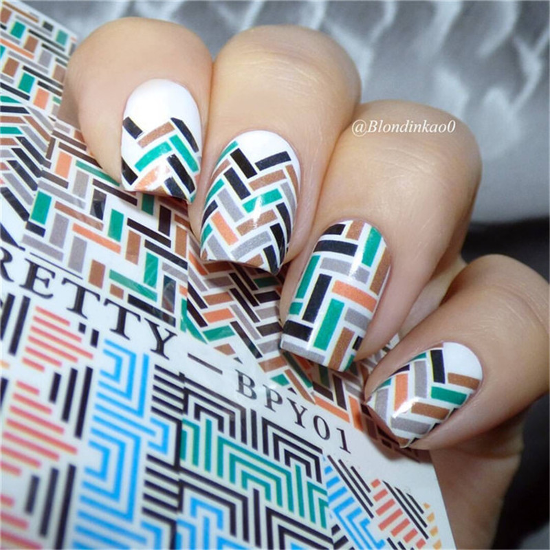 1 Sheet BORN PRETTY Nail Sticker Water Decals Fret Checked Nail Transfer Sticker Chic Pattern Nail Water DecalsBPY01 colosseo 70805 4c celina