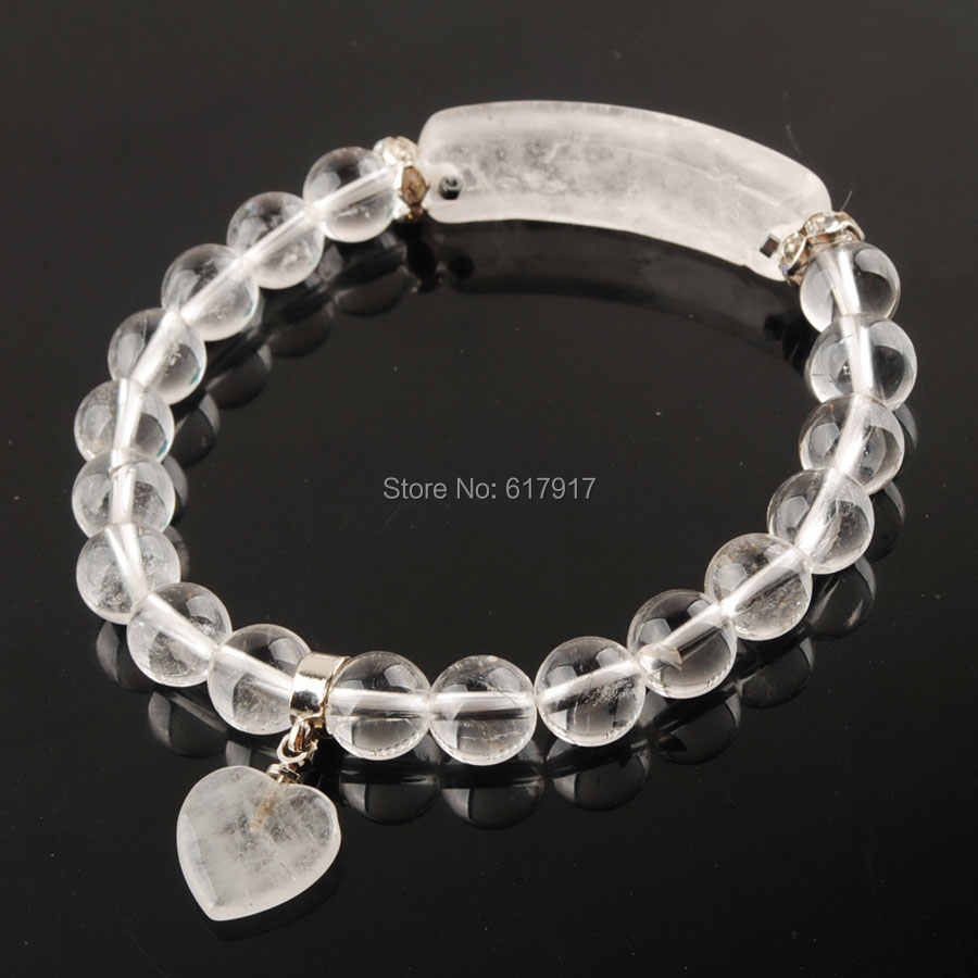 ลูกปัดหินธรรมชาติสีขาวใสควอตซ์ Rock สร้อยข้อมือคริสตัลรูปหัวใจสีเงินกระชับผู้หญิงเครื่องประดับ Love ของขวัญ TK3325