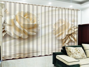 Custom Curtain Two Delicate Pink Roses 3D Floral Curtains Living Room Bedroom Beautiful Practical Shade Curtains