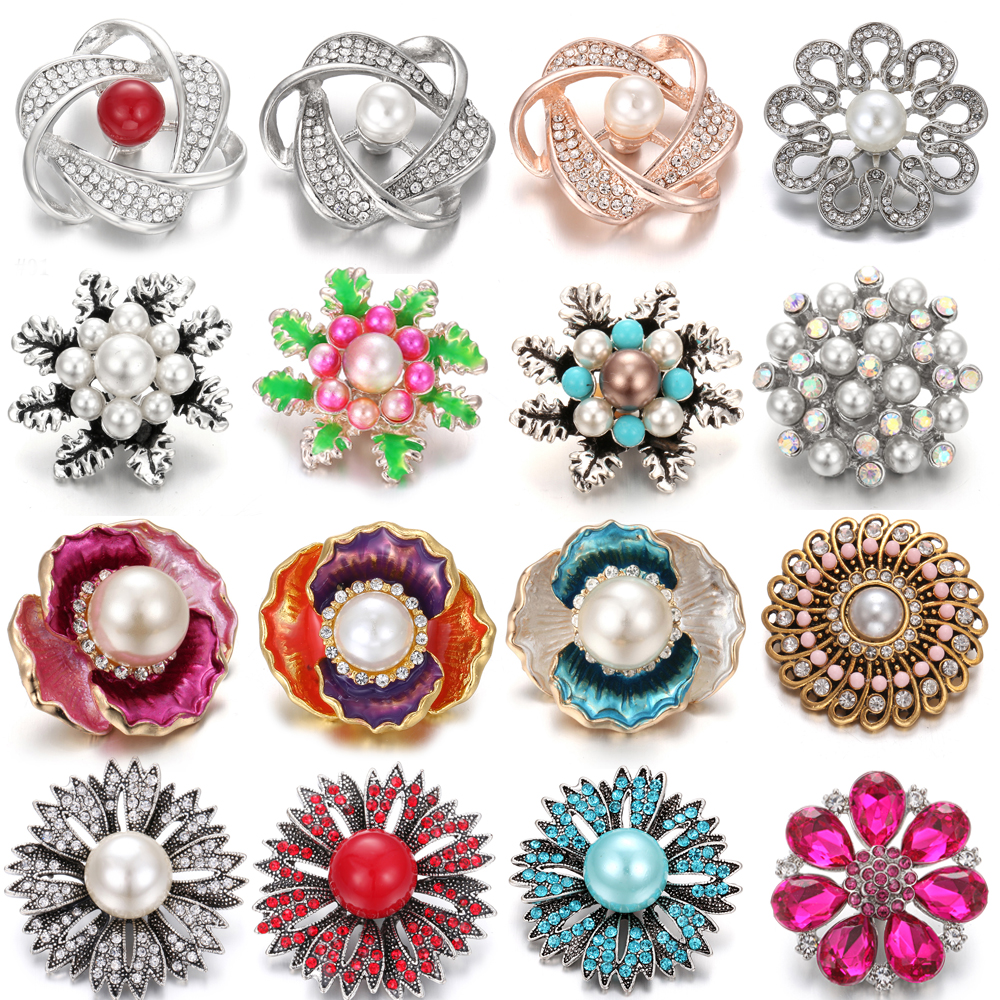 6pcs/lot New Snap Jewelry High Quality Big Crystal Sunflower Flower Snap Buttons Fit 18mm 20mm Snap Button Bracelet DIY Charms button
