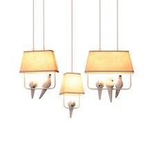 Прекрасный индивидуальный кулон с птицами, винтажная смола, птичья ткань, абажур, светодиодный подвесной светильник для кухни, столовой, светильник Avize