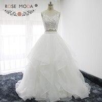 Rose Moda Fashion Two Pieces Boho Wedding Dress Lace Top Organza Ball Gown Summer Bridal Dresses