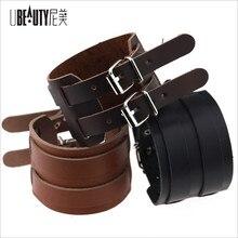 Купить с кэшбэком Cowboy Style Black/brown Strap Double Belt Wide Leather bracelet Adjustable Buckle Wristband Cuff Bracelets Punk Jewelry For Men