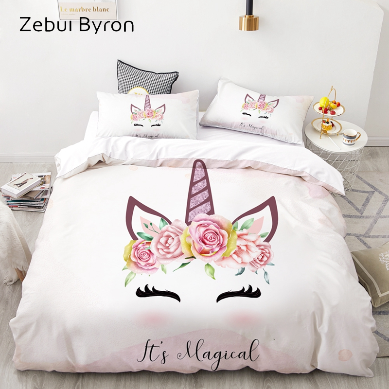 3D Cartoon Bedding Set For Kids/Baby/Children/Girl,Duvet Cover Set Custom/Europe/King,Quilt/Blanket Cover Set Unicorn Crown