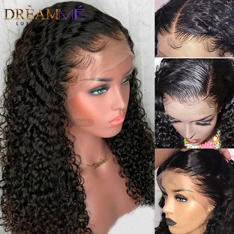 Brazilian Loose Deep Curly 360 Lace Frontal Wig PrePlucked With Baby Hair Remy Full End 13X6
