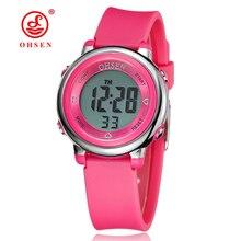 OHSEN цифровые детские розовые наручные часы с ЖК-дисплеем и резиновым ремешком для девочек, 50 м, дайвер, 7 цветов, Мультяшные детские модные часы с будильником для мальчиков