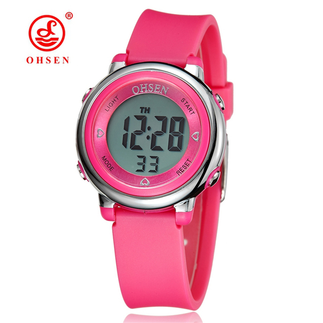 OHSEN Digital LCD Kids Girl Pink Wristwatch Rubber Strap 50M Diver 7 Colors Cart
