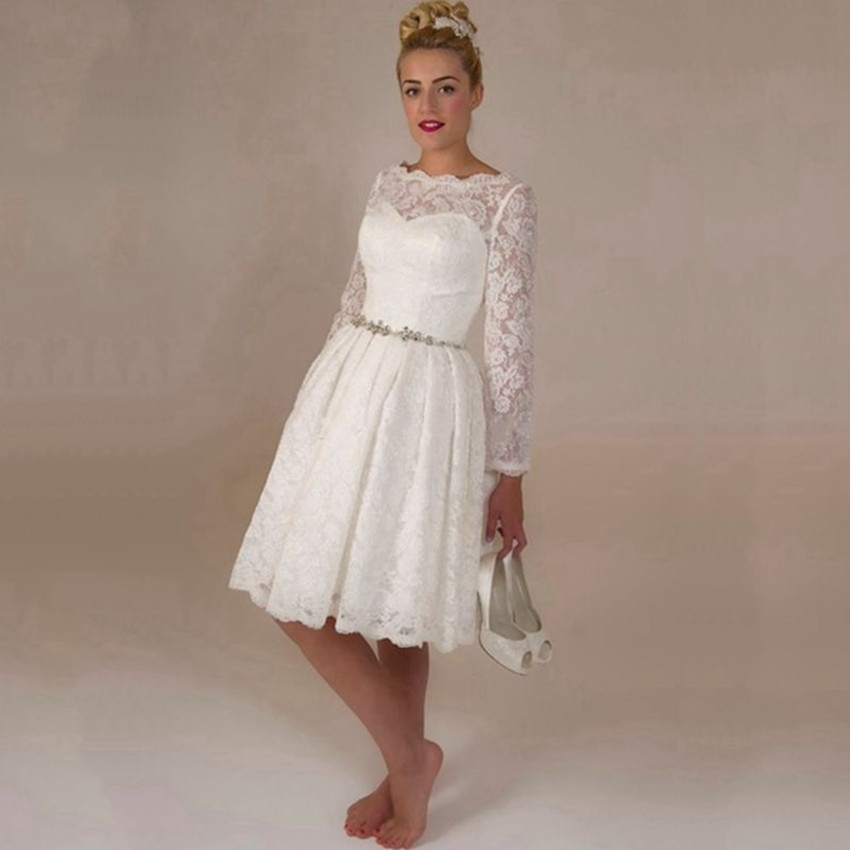 2015 Hot Sale White Lace Short Wedding Dresses Long Sleeve Beaded     2015 Hot Sale White Lace Short Wedding Dresses Long Sleeve Beaded Wedding  Gowns Knee Length Bride Dresses Vestido De Noiva Curto in Wedding Dresses  from