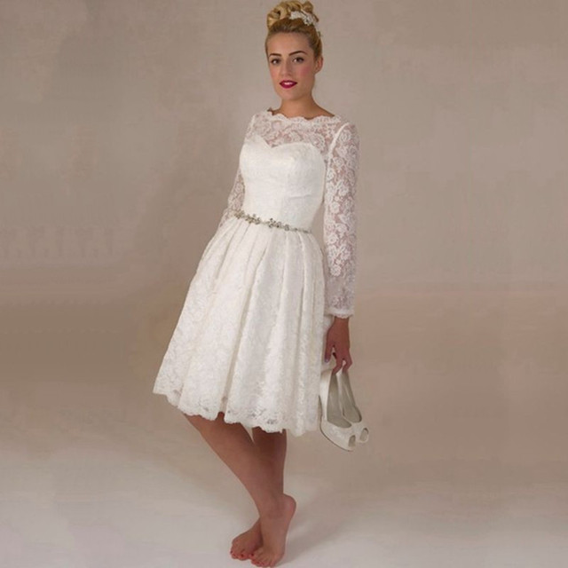 2015 hot sale white lace short wedding dresses long sleeve for Long sleeve wedding dress for sale