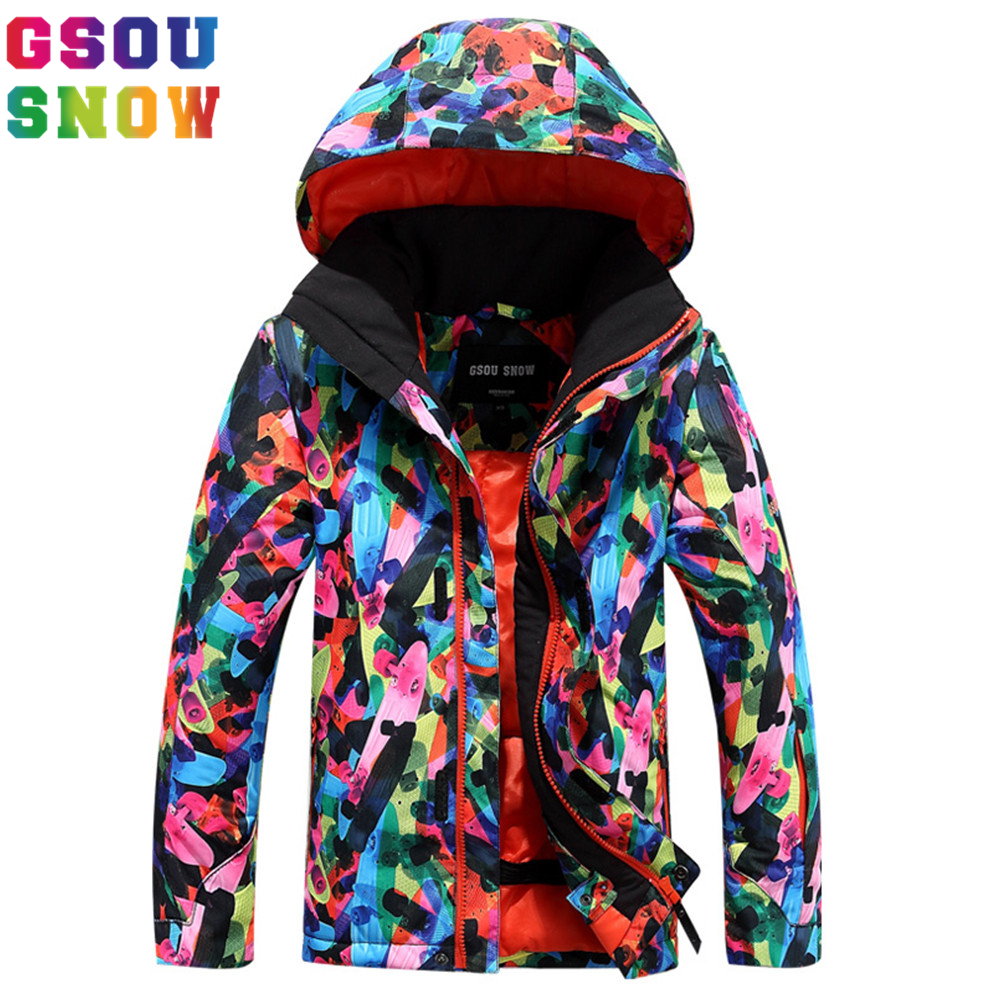 Gsou Snow Kids Ski Jacket Winter Outdoor Snow Coats For Children Windproof Thermal Boys Hooded Bright Color Ski Snowboard Jacket children kids boys winter windproof padded jacket hooded jacket ski jacket high quality size 116 140