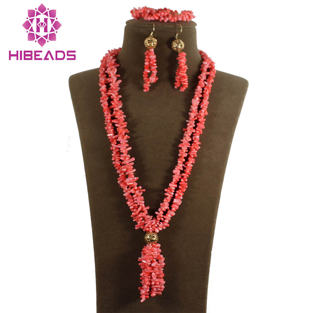 Charming African Coral Necklace/Bracelet/Earrings Set Fashion Pink Sapling Coral Beads Jewelry Set Free Shipping CJ034