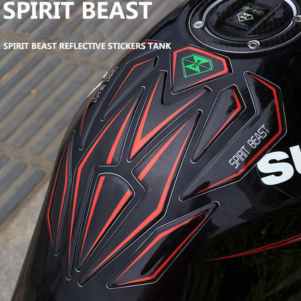 SPIRIT BEAST Reflective 3D Motorcycle Sticker Moto Gas Fuel Tank Protector Pad Cover Decoration Decals for Honda Yamaha etc