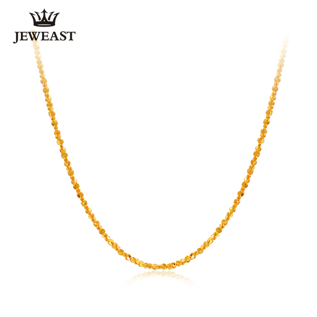 XXX 24K Pure Gold Necklace Real AU 999 Solid Gold Chain Beautiful Smooth Shiny Upscale Trendy Classic Fine Jewelry Hot Sell New 1