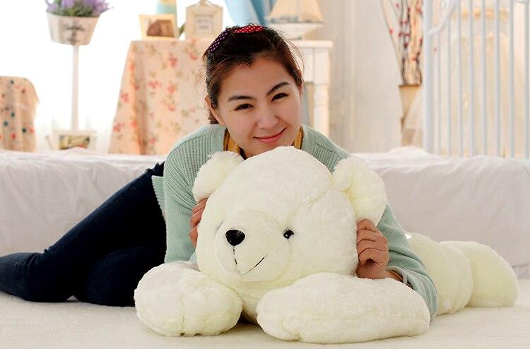La belle poupée ours énorme peluche ours couché jouet l'ours polaire oreiller cadeau d'anniversaire environ 90 cm
