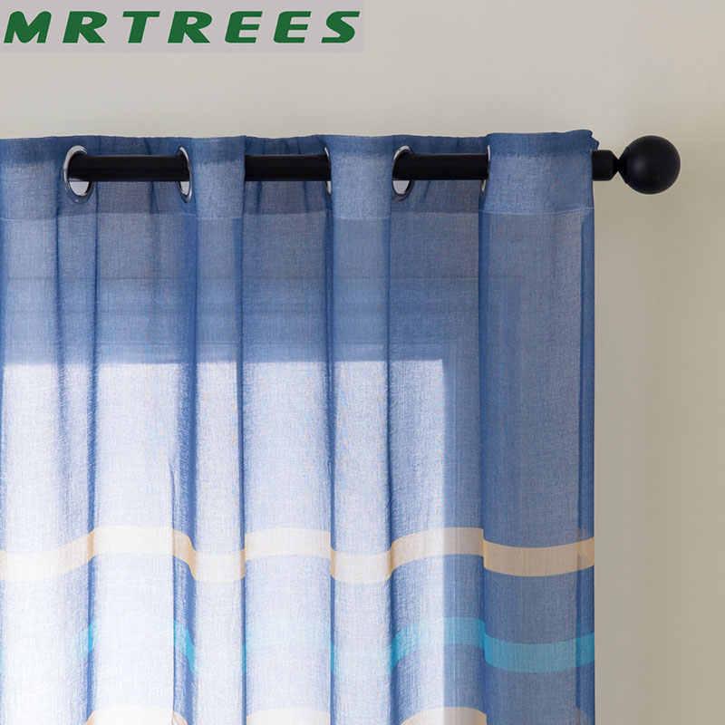MRTREES פסים טול חלון וילונות לסלון מטבח מודרני טול וילונות חלון חדר שינה וילון בד וילונות