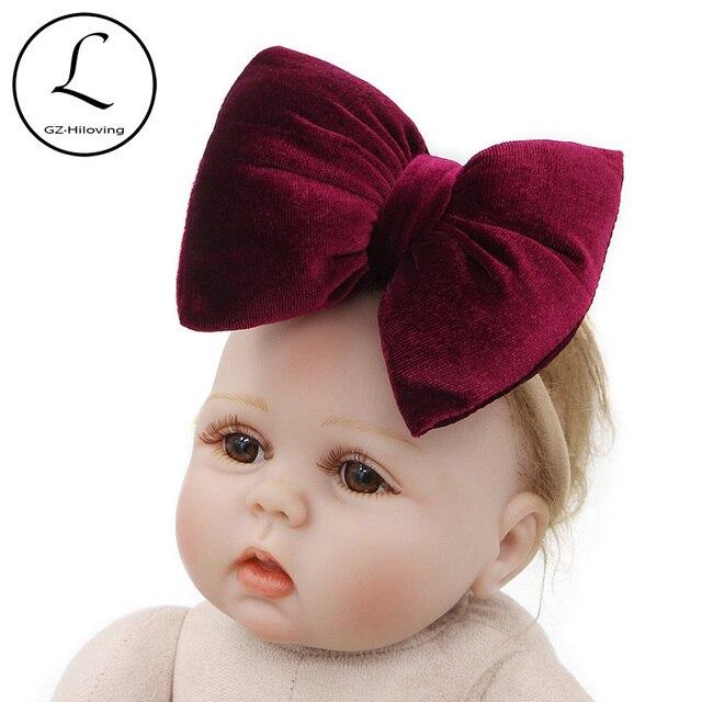 GZHilovingL Newborn Big Bow Headband Baby Girl Headbands Bow Hair Band  Children Kids Cotton Turban Head Wrap Hair Accessories f1f8f9383cf